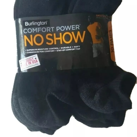 10-Pack Burlington Mens Cotton No Show Socks Comfort Power